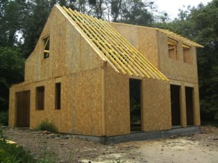 fabrication d`une maison bois, construction en ossature bois